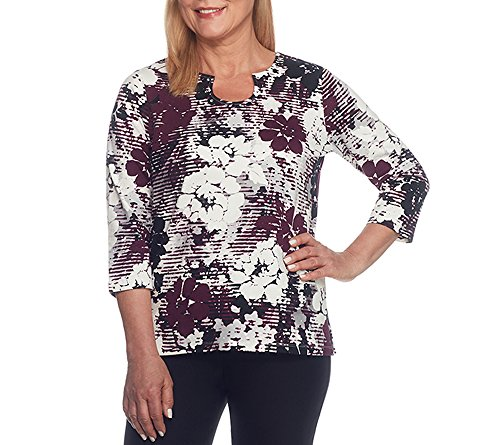 Alfred Dunner Petites' Shadow Stripe Floral Knit Top Petite Large (Alfred Dunner Petite Blouse)