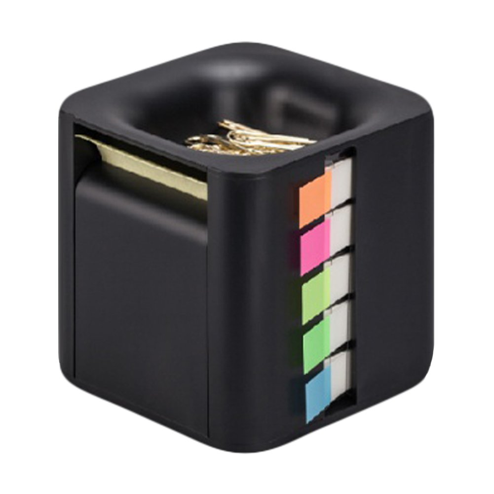 All-in-One Pop-up Note & Roll Sticky Note Dispenser Assorted Index Flag Dispenser Paper Clip Tub Desk Organizer (Black)