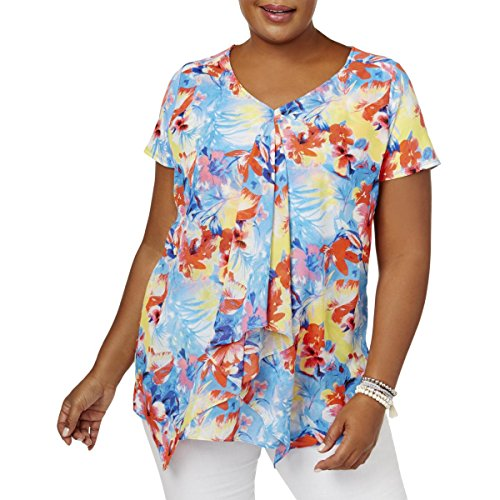 NY Collection Womens Plus Matte Jersey Floral Print Pullover Top Blue (Print Matte Jersey Top)