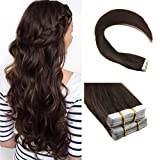 Cheap Ugeat 24 inch Silky Straight Remy Extensions Glue in Human Hair Extensions Skin Weft Tape in Extensions Medium Brown 40pcs/100g