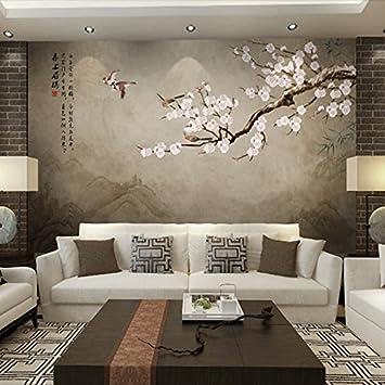 Tsqqst Fototapete 3D Neue Chinesische Handbemalte Blumen Vögel ...