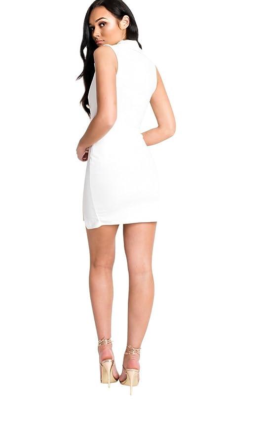 8d1a8a08ecf8 IKRUSH Women's Blake Gold Button Blazer Dress Size in White Size 10 at  Amazon Women's Clothing store: