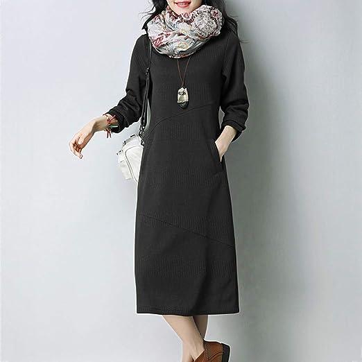 iHENGH nowa roczna promocja karnawałowa damska wiosna lato spÓdnica wygodna swobodna moda sukienka damska spÓdnica z długim rękawem casual casual casual solidna sukienka średnia z kieszeniami: Od