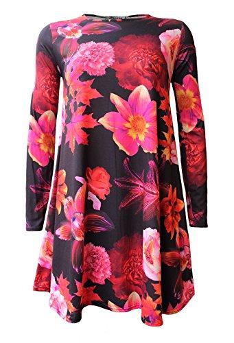 A Donne Vestito Lunghe Sciolto Dell'oscillazione Maniche Della Floreale Rosa Stampa 4USXw4rx