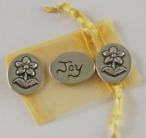Set of 3 Flower Joy Inspiration Coins with Organza Bag
