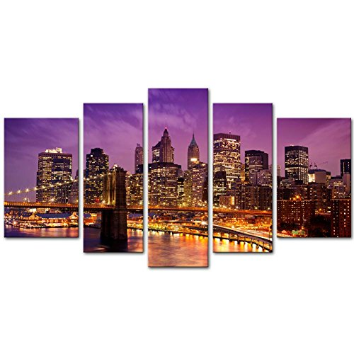 Canvas Print Wall Art Painting For Home Decor Purple Brooklyn Bridge And Manhattan Skyline At Night New York City Skyline City Landmark With Lights At Dusk After Sunset Cityscape 5 Piece Panel Paintings Modern Giclee Stretched And Framed Artwork The Picture For Living Room Decoration City Pictures Photo Prints On Canvas