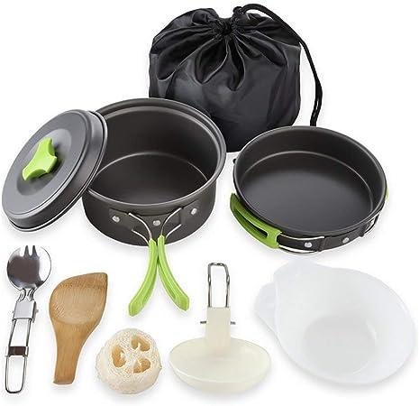 Towinle - Juego de utensilios de cocina para camping con tapa antiadherente para exteriores, para camping de 1 a 2 personas