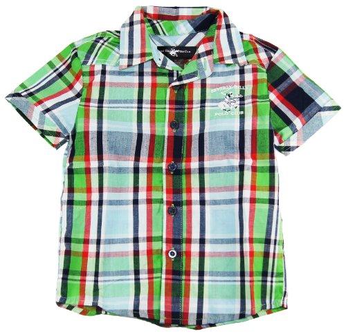 Beverly Hills Polo Club Little Boys' Summer Green Plaid Short Sleeve Shirt 4T