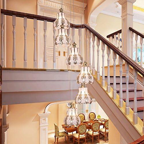 Luz de Techo Escalera de Escalera de Doble Nivel Retro Villa Escalera de Caracol lámpara de Cristal de Hierro Forjado Restaurante lámparas de luz de Escalera de China (Tamaño : 30 *