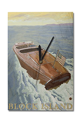 (Lantern Press Rhode Island - Chris Craft Boat (10x15 Wood Wall Clock, Decor Ready to Hang))