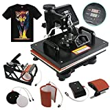 F2C 5 in 1 Professional Digital Transfer Sublimation Heat Press Machine Hat/Mug/Plate/Cap/T-shirt Multifunction Black (5 in 1)