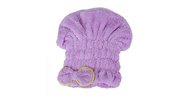 Amazon.com: eDealMax Bowknot Toalla Cap de secado de Pelo Abrigo de la cabeza de secado rápido del baño del Sombrero púrpura: Health & Personal Care