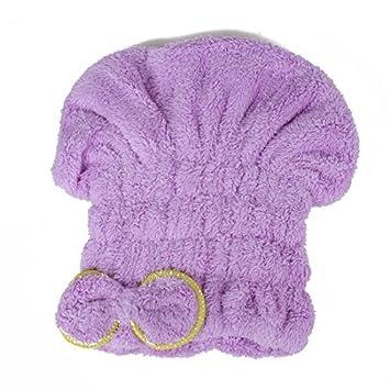 eDealMax Bowknot Toalla Cap de secado de Pelo Abrigo de la cabeza de secado rápido del
