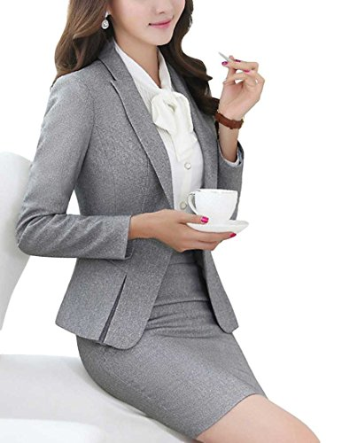 MFrannie Women's Business Office Lady OL Jacket And Skirt Slim Fitness Suit Set Gray-M by MFrannie (Image #2)