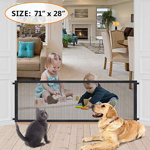 Magic Gate for Pets Folding Mesh Baby Safety Enclosure Portable Child Proof Stair Guards Retractable Gate for Dogs Collapsible Fence Isolated Gauze Safe Guard Install Anywhere,71×28 inch (Black)