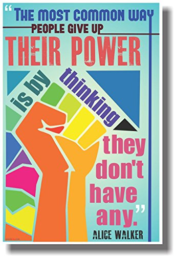 The Most Common Way People Give Up Their Power Is By Thinking They Don't Have Any - Alice Walker - New Classroom Motivational Poster