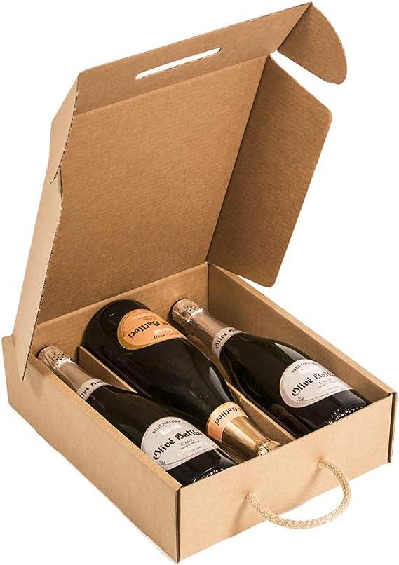 Kartox | Estuche para 3 botellas |Caja de cartón para cava o champagne | Caja de color kraft | 4 Unidades: Amazon.es: Oficina y papelería