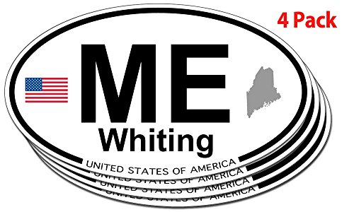 Whiting, Maine Oval Sticker - 4 pack