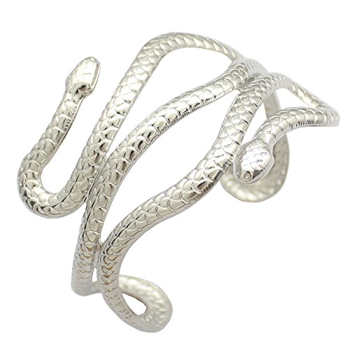 Q&Q Fashion Silver Plated Chic Egypt Cleopatra Swirl Snake Arm Cuff Armlet Armband Open Bangle Bracelet -