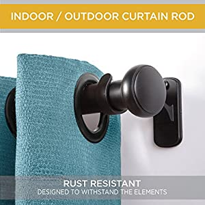 """Kenney KN90001 1"""" Weaver Rust Resistant Indoor/Outdoor Ceiling or Wall-Mount Window Curtain Rod, 72-144"""""""