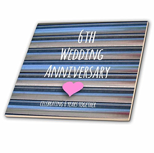 3dRose ct_154434_2 6Th Wedding Anniversary Gift Iron Celebrating 6 Years Together Sixth Anniversaries Six Yrs Ceramic Tile, 6-Inch by 3dRose