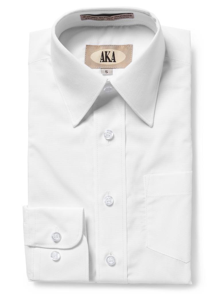 AKA Boys Solid Dress Shirt - Button Down Long Sleeve Wrinkle Free - White 14