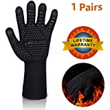 "BBQ Gloves Heat Resistant Barbecue Gloves for Cooking/Oven/Grilling 932°F Extreme -1 Pair (Long)-14"" Long For Extra Forearm Protection"