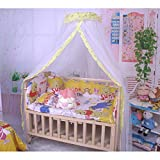 Meiyiu 1.7x4.2M Baby Summer Crib Mosquito Net for Infants Portable Cot Folding Canopy Netting Protector Without Bracket Yellow 1.7M*4.2M