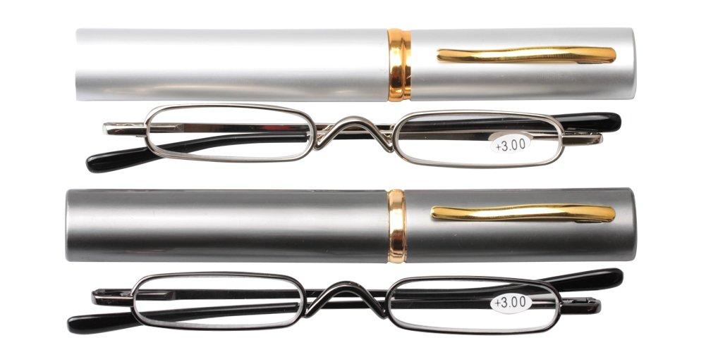 SOOLALA Super Slim Compact Reader Reading Glasses Reader w/Pen Clip Tube Case, GunSilver, 2.0