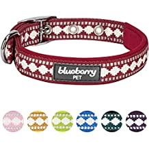 """Blueberry Pet 7 Colors Soft & Comfy 3M Reflective Jacquard Padded Dog Collar with Metal Buckle in Marsala Red, Neck 13-16.5"""", Medium, Adjustable Collars for Dogs"""
