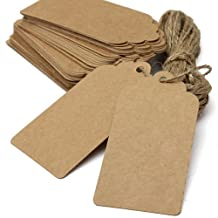 Brown Kraft Paper Tags Label & Twine Wedding Party Gift Decor(Pack of 50pcs),Rectangle