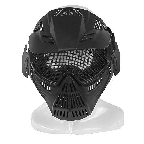 Paintball Masks,YASHALY Adjustable CS Military Tactical Gear Full Face Airsoft Mask with Mesh Eye Protection for Shooting Hunting Cycling Motorcycle (Black) (Simple Halloween Face Paint For Guys)