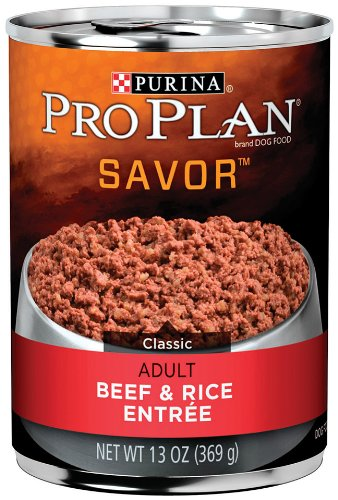 Pro Plan Canned Dog Food, Adult Classic Beef and Rice Entree, 13-Ounce Cans (Pack of 12), My Pet Supplies