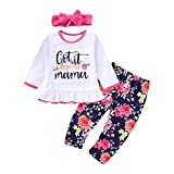 3pcs Kids Girl Toddler Clothes Set Letter Print Top + Floral Pants + Headband (Color : 120)