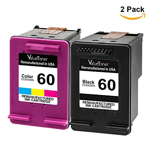 Valuetoner Remanufactured Ink Cartridge Replacement for HP 60 D8J23FN CC640WN CC643WN (1 Black, 1 Tri-Color) 2 Pack (Hp 60)