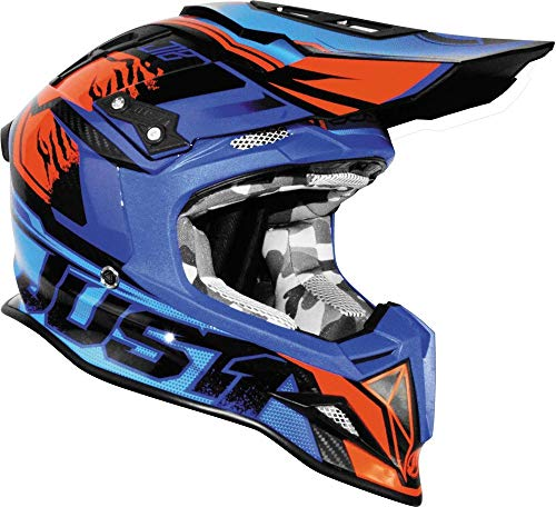 Just1 Dominator Adult J12 Off-Road Motorcycle Helmet - Blue/Red/X-Large