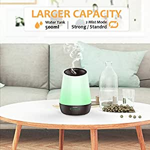 Afloia 300ml Essential Aroma Diffuser, Ultrasonic Aromatherapy Cool Mist Humidifier with 7 LED Color Changing Light for Home Office Spa Yoga Bedroom Living Room-Light Wood Grain