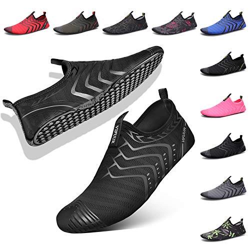 VIFUUR Womens Mens Water Shoes Comfortable Barefoot Shoes for Outdoor Beach Swimming Aqua Socks Black 41/42