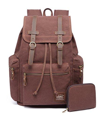 KAUKKO Canvas Vintage Backpack Casual Daypack School Leather Rucksack Laptop Bag By (COFFEE-1) by KAUKKO