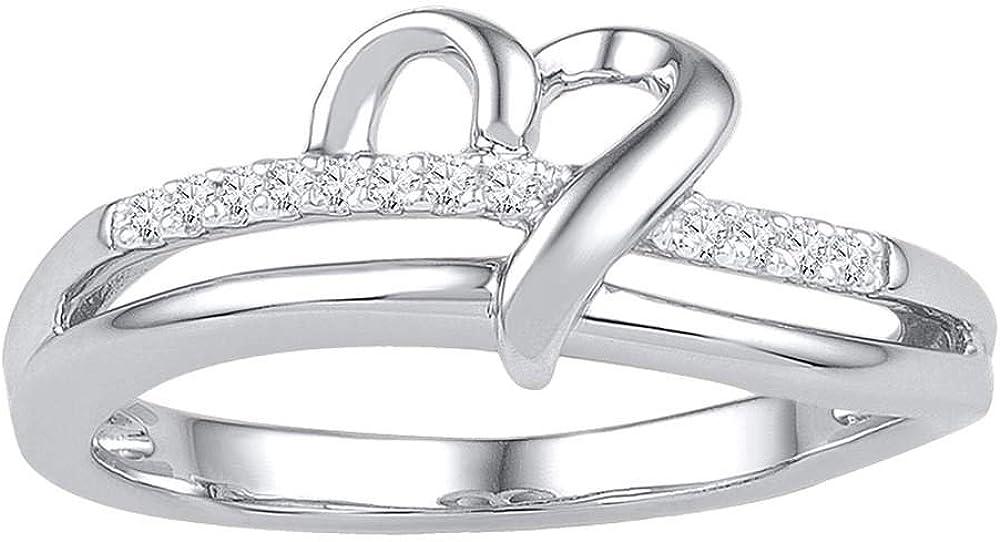 10kt White Gold Womens Round Diamond Heart Love Ring 1//20 Cttw Gift for Women