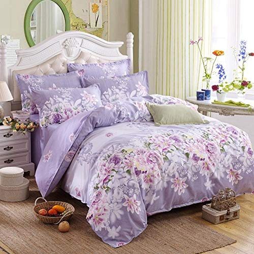 WDWDF Classic Bedding Set 5 Size Grey Blue Flower Bed Linen 4pcs/Set Duvet Cover Set Pastoral Bed Sheet AB Side Duvet Cover 2019 Bed Flower Voilet Queen