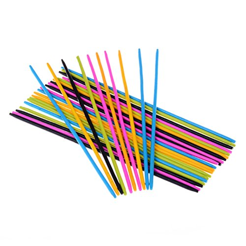 AOWA 60 Pcs Colorful Wooden Pick Up Sticks Classic Game ()