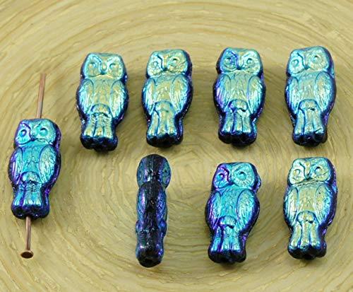 22pcs Small Jet Black Dark Blue AB Two-Sided Czech Glass Owl Beads Bird Animal Halloween 15mm x 7mm