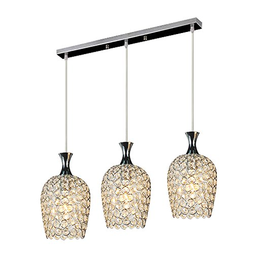 - DINGGU Modern 3 Lights Crystal Pendant Lighting for Kitchen Island and Dining Room