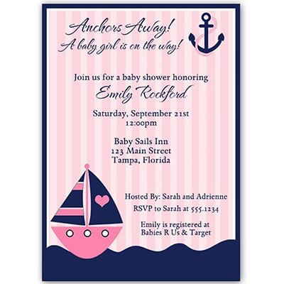Anchor's Away! Custom Baby Shower Invitations, Pink, Navy, Sailboat, 10 Printed Invites and White Envelopes,