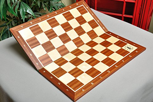 Folding Mahogany and Maple Wooden Chess Board - 2.25