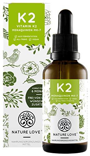 NATURE LOVE® Vitamin K2 MK-7-200µg, 1700 Tropfen, 50ml. Höchster All-Trans Gehalt 99,7% und natürlich fermentiert. Premium: Gnosis VitaMK7. Flüssig, vegan, hergestellt in Deutschland