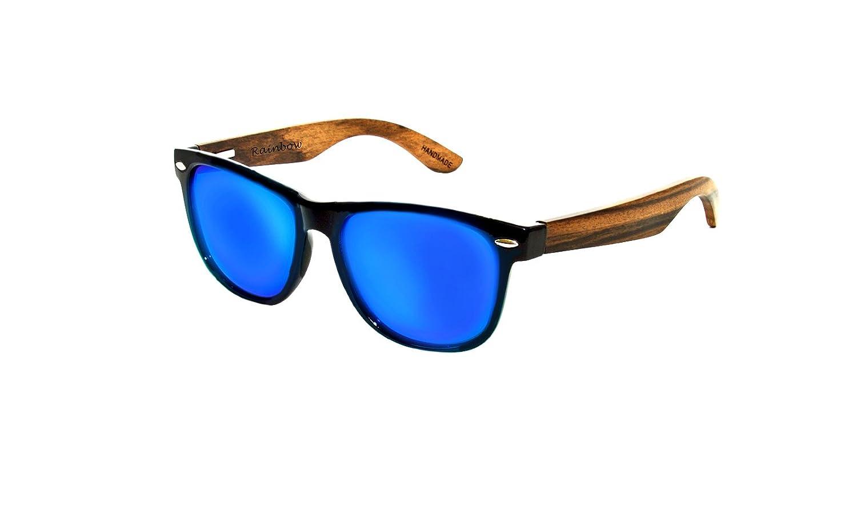Sonnenbrille Rainbow Wayfarer/Damen Herren Unisex/Bügeln Holz /Polarisierte Linse/RW (RW Blau Navy Spiegel) zGsH3Y