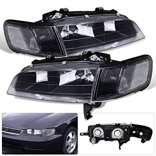 For Honda Accord Dx Lx Ex Front Driving Lamp Replacement Upgrade Black Housing Clear Reflector Lens Headlight Head Lamp ()