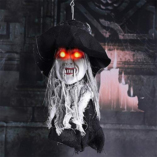 Halloween Hanging Ghost Horrible Electric Sound Control Zombie Haunted House Bar Party Decoration Luminescence Props -